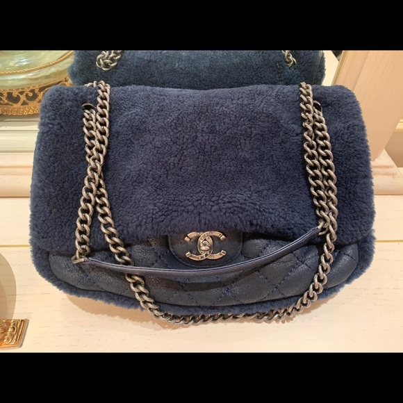 70a8240ce9ae CHANEL Bags | Classic Bag With Fur Blue Color | Poshmark